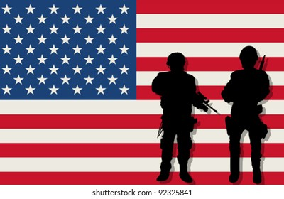 Armed soldiers silhouettes over american flag background