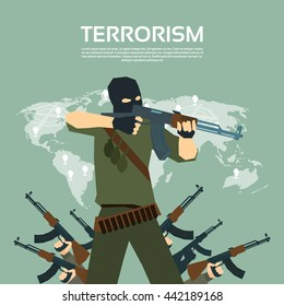 Armed Terrorist Group Over World Map International Terrorism Concept Flat Vector Illustration