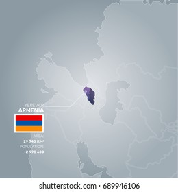 Armenia 3d map with information of area and population of the country.