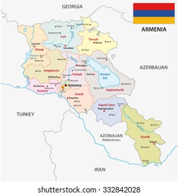 armenia administrative map with flag