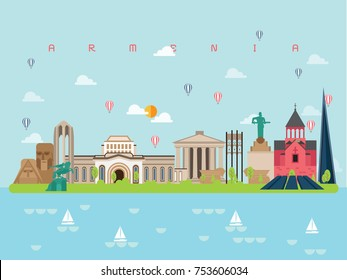 Armenia Famous Landmarks Infographic Templates for Traveling Minimal Style and Icon, Symbol Set Vector Illustration Can be use for Poster Travel book, Postcard, Billboard.