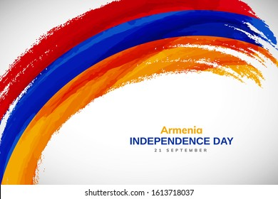 Armenia flag made in watercolor brush stroke background. Independence day of Armenia. Creative Armenia national country flag icon. Abstract watercolor painted grunge brush flag background.