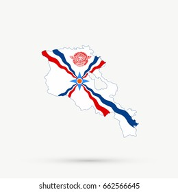 Armenia map in Assyrians flag colors, editable vector.