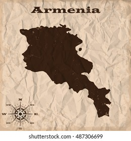 Armenia old map with grunge and crumpled paper. Vector illustration
