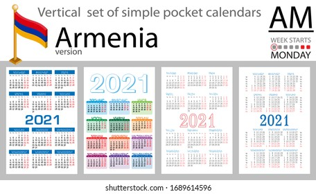 Armenia vertical set of pocket calendars for 2021 (two thousand twenty one). Week starts Monday. New year. Color simple design. Vector
