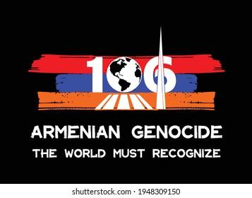 Armenian Genocide - with Armenian flag - Tsitsernakaberd - Vector - Yerevan, Armenia