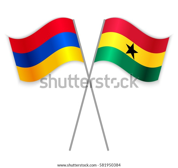 Armenian and Ghanaian crossed flags. Armenia combined with Ghana isolated on white. Language learning, international business or travel concept.