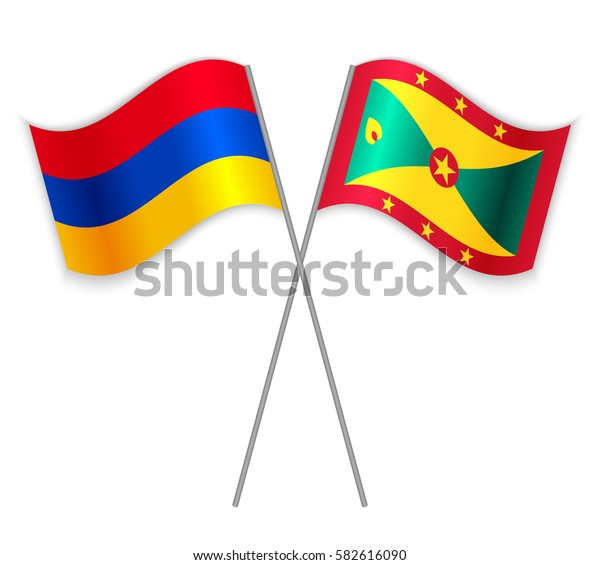 Armenian and Grenadian crossed flags. Armenia combined with Grenada isolated on white. Language learning, international business or travel concept.