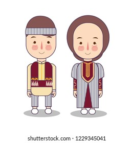 Armenians in national dress. Man and woman in traditional costume. Travel to Armenia. People. Vector flat illustration.