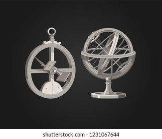 Armillary sphere.  Astrolabe. History of inventions. Astronomy. Journeys. Vector clip art.