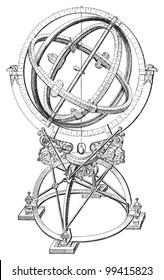 Armillary sphere / vintage illustration from Meyers Konversations-Lexikon 1897