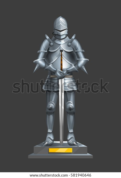 Armor ancient knight with a sword on a pedestal. Vector illustration.