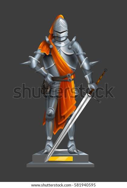 Armor ancient knight with a sword and orange cloth on a pedestal. Vector illustration.