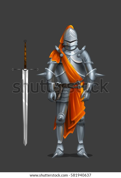 Armor ancient knight with a sword and orange cloth. Vector illustration.
