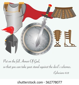 The armor of God as equipment brave warrior with a sword, breastplate and helmet strap shoes shield