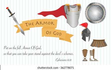 The armor of God as a symbol of Christian faith and life with message from the Bible
