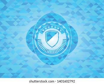 armor icon inside realistic sky blue mosaic emblem