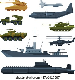 Armored Army Vehicles Collection, Military Heavy Special Transport Flat Vector Illustration
