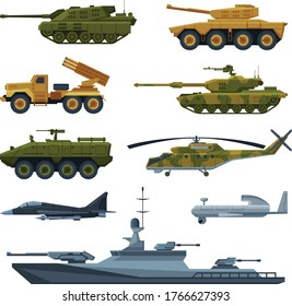 Armored Army Vehicles Collection, Military Heavy Special Transport, Tank, Aircraft Fighter, Rocket Launcher, Helicopter, Warship Flat Vector Illustration