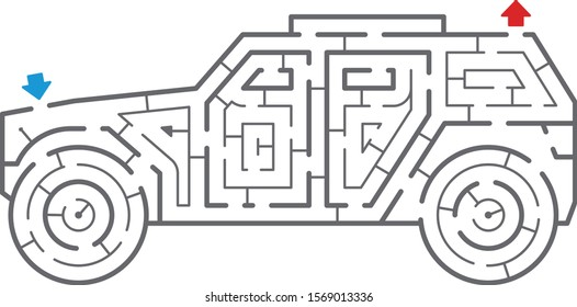 Armored car maze. It is suitable for brain training.