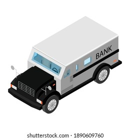 Armored cash truck isometric view. Utility security van vehicle. Vector