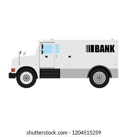 Armored cash truck side view. Utility security van vehicle. Vector isolated illustration.