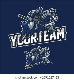 armored knight holding spear riding an armored horse esport gaming mascot logo template