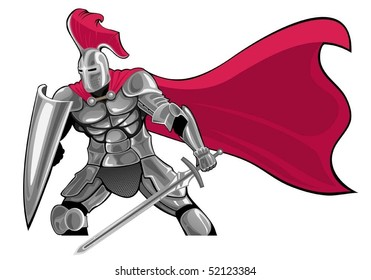 armored knight with sword and shield