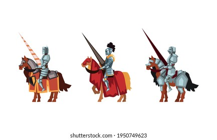 Armored Medieval Knight or Cavalryman Sitting on Horseback Holding Lance Vector Set