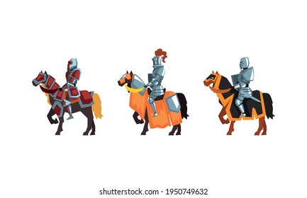 Armored Medieval Knight or Cavalryman Sitting on Horseback Vector Set
