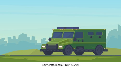 Armored police van heavy truck. Swat car Special military off road truck. City background