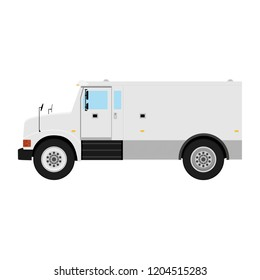 Armored  truck side view. Utility security van vehicle. Vector isolated illustration.