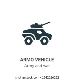 Armored vehicle vector icon on white background. Flat vector armored vehicle icon symbol sign from modern army and war collection for mobile concept and web apps design.