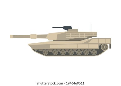 Armoured Tank as Military Transportation and Fighting Vehicle for Front-line Combat Vector Illustration