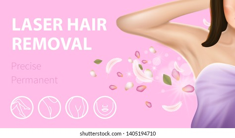 Armpit Epilation Laser Hair Removal, Precise Permanent Horizontal Banner. Woman Holding Arm Up and Showing Clean Underarms with Feathers and Petals on Pink Background. 3D Vector Realistic Illustration