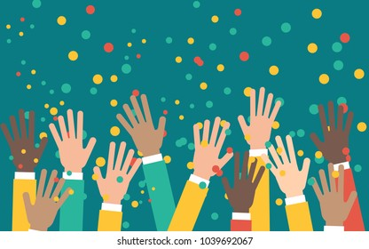 Arms of business people raised up in the air, happy crowd celebration and support, flat vector illustration on green background