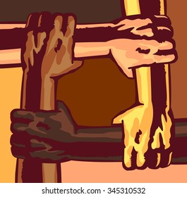 Arms different race and skin color holding and supporting each other, multi-ethnic community, melting pot, teamwork, friendship, cooperation, mutual aid, solidarity concept vector illustration