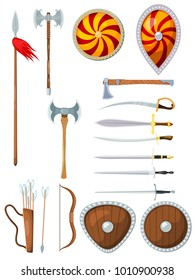 Arms of a medieval warrior on a white background. Weapon of a knight in the style of a card. Vector illustration of a collection of traditional war articles