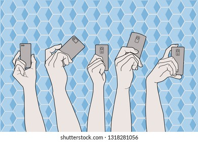 Arms up with smart phones on hands