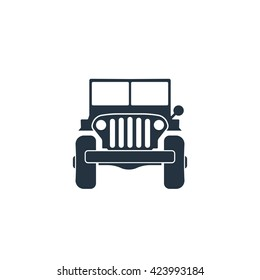 army 4x4 car front icon, vector, jeep