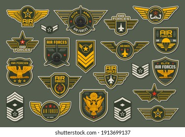 Army air forces, airborne units badges and winged chevrons with plane propeller, jet fighter aircraft and airplane yoke, wings, stars and colonel vector. Military enlisted rank insignia epaulets set