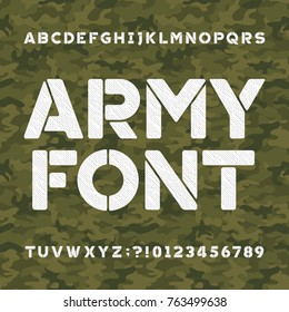 Army alphabet font. Scratched type letters and numbers on a green camo background. Vector typography for your design.