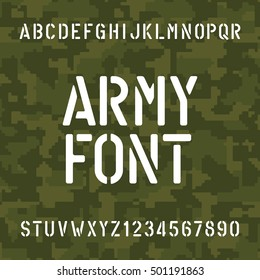 Army alphabet font. Stencil type letters and numbers on camo background. Vector typeface for your design.