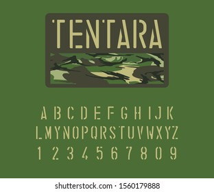 Army alphabet font. Texture, letters and numbers of Indonesian soldiers. Stencil type letters and numbers on camo background. Vector typeface for your design.