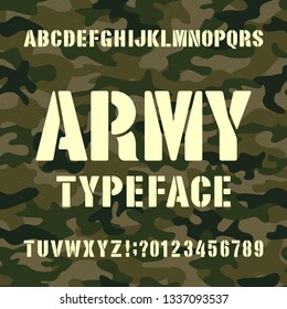 Army alphabet typeface. Stencil letters and numbers on distressed camo background. Vector font for your design.