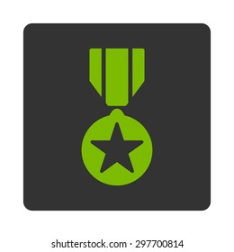 Army award icon from Award Buttons OverColor Set. Icon style is eco green and gray colors, flat rounded square button, white background.