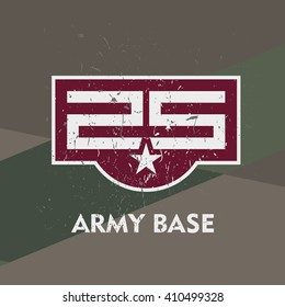 Army base military stamp, label, sign. Vector art.