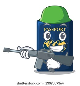 Army blue passport in the cartoon form