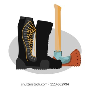 Army boots, boots and ax. Colorful hand drawn vector stock illustration.