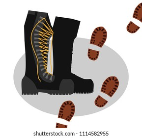 Army boots and footprints from shoes. Colorful hand drawn vector stock illustration.